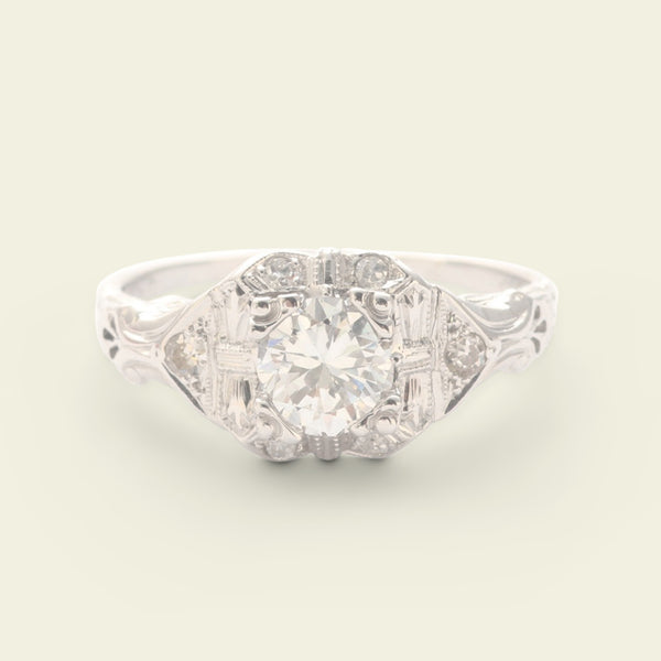Late Deco Cluster Ring with .66ct Transitional Cut Diamond