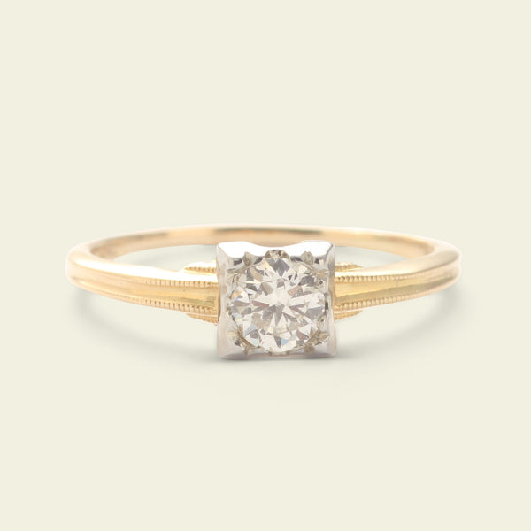 Vintage Two Tone .33ct Diamond Solitaire