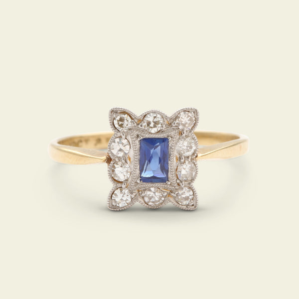 Edwardian French Cut Sapphire and Diamond Cluster Ring