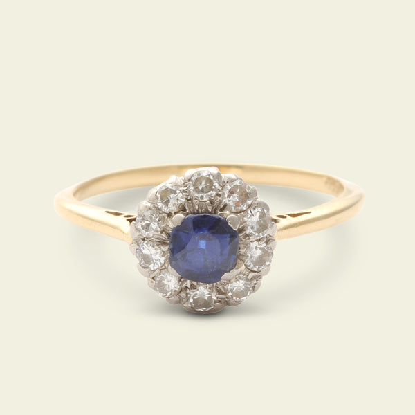 Sapphire and Diamond Round Floral Cluster Ring