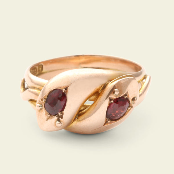 Victorian Rose Gold and Garnet Twin Snake Ring