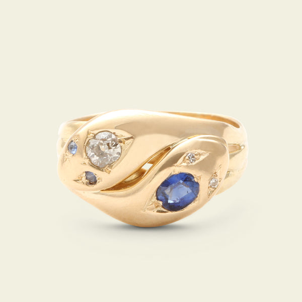 Victorian Sapphire and Diamond Entwined Snakes Ring