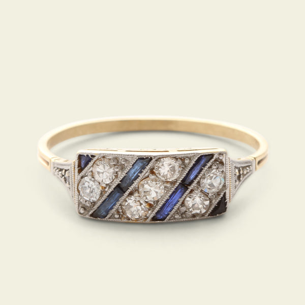 Art Deco Diamond and Sapphire Diagonals Ring
