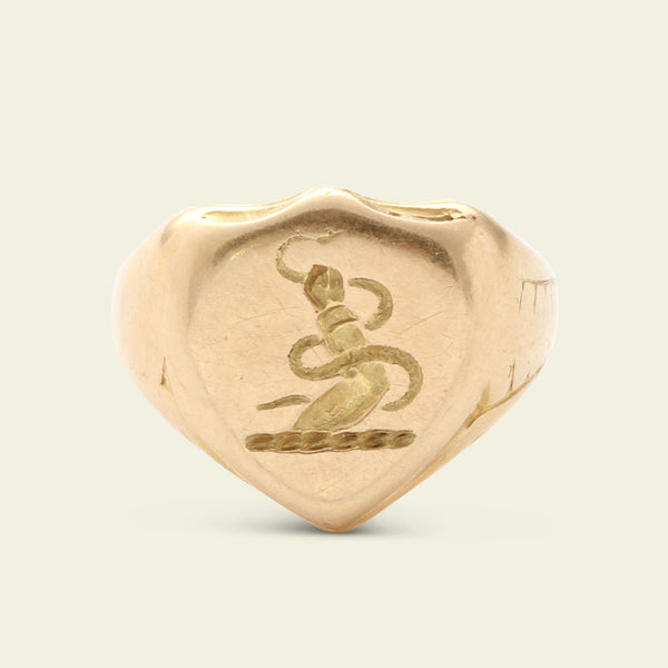 Shield Shaped Signet Ring with Nourse Family Crest