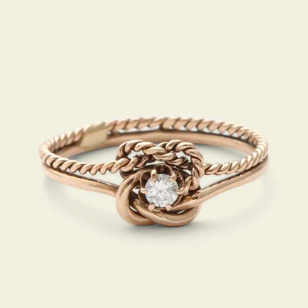 Vintage Lovers Knot Ring with .06ct Diamond