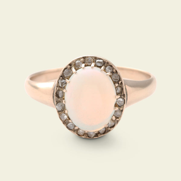 Victorian Opal and Rose Cut Diamond Oval Cluster Ring