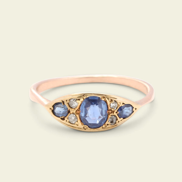 East West Sapphire and Rose Cut Diamond Navette Ring