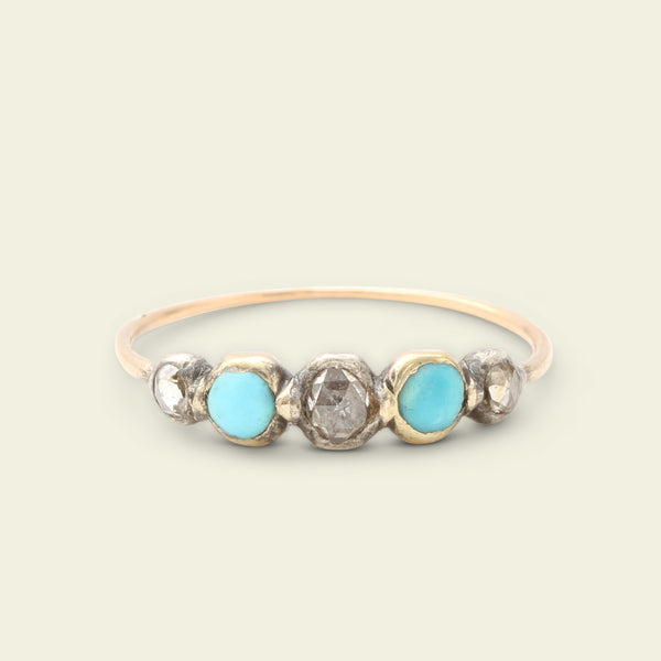 Georgian Rose Cut Diamond and Turquoise Five Stone Ring