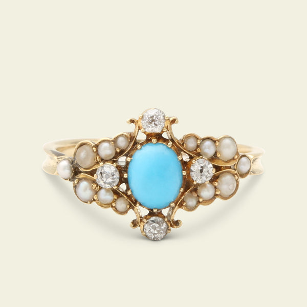 Victorian East West Turquoise, Diamond, and Pearl Cluster Ring