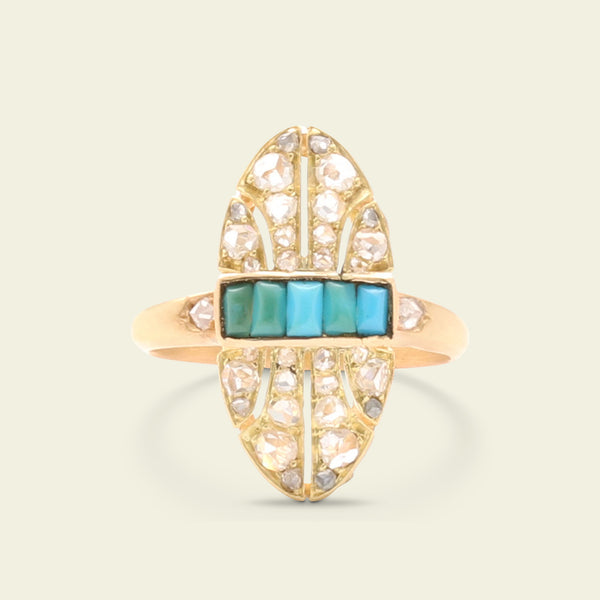 Mid Victorian Turquoise and Lozenge Ring