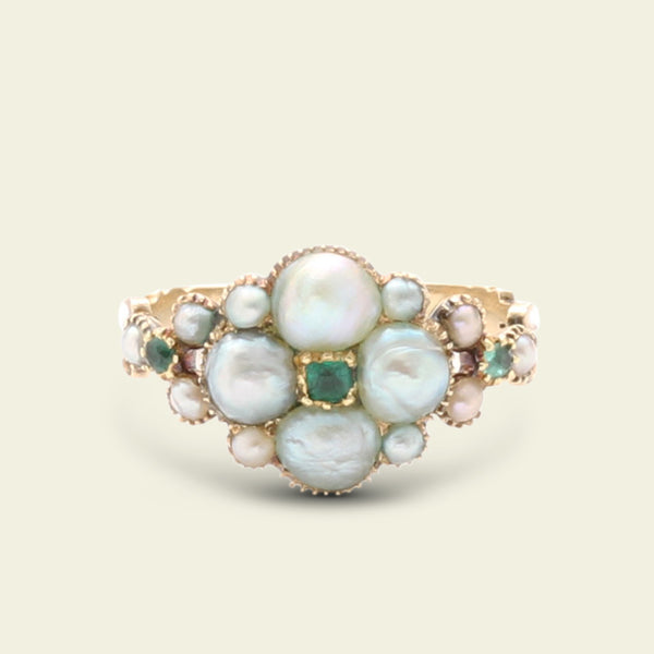 "Georgian Pearl and Emerald ""Howland"" Quatrefoil Ring"