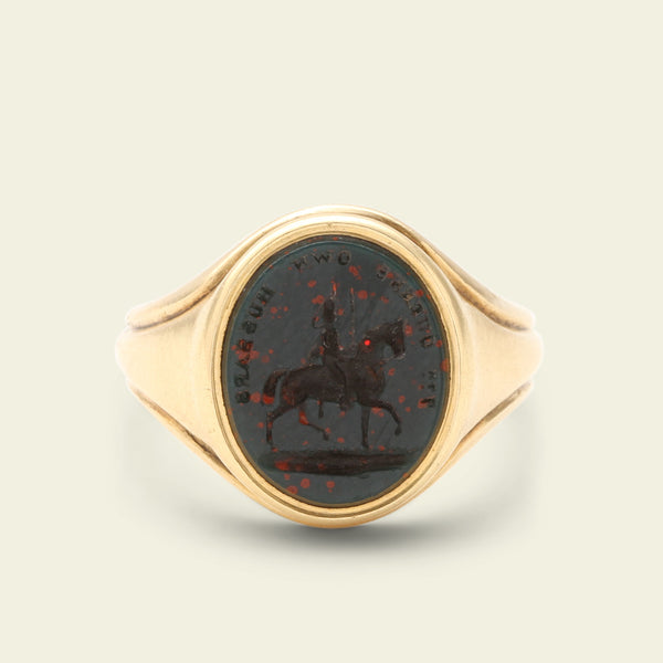 "Victorian ""7th Queen's Own Hussars"" Bloodstone Intaglio Ring"