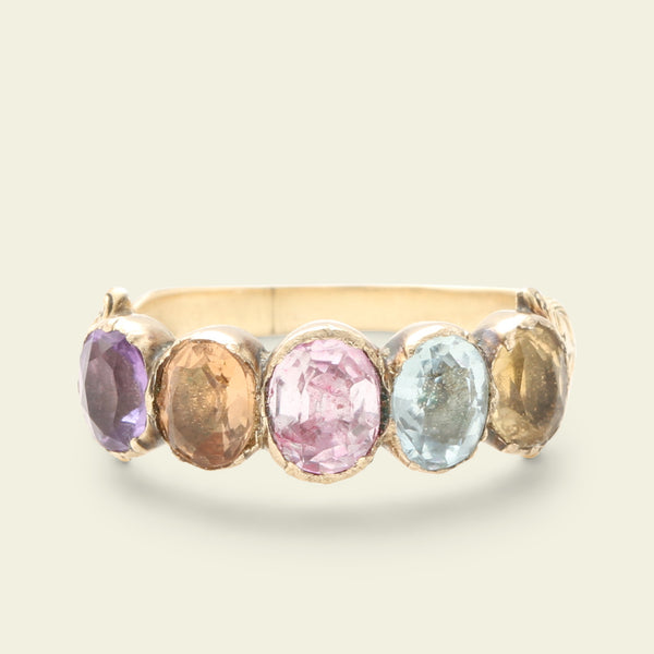 Georgian Pastel Harlequin Gemstone Ring