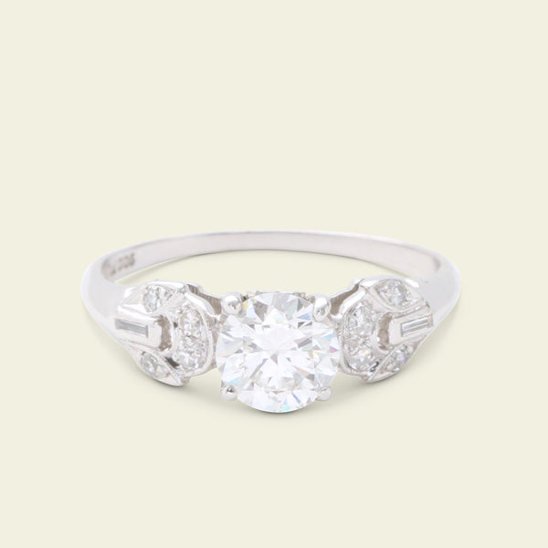 Art Deco .92ct Diamond Engagement Ring with Petaled Round Shoulders