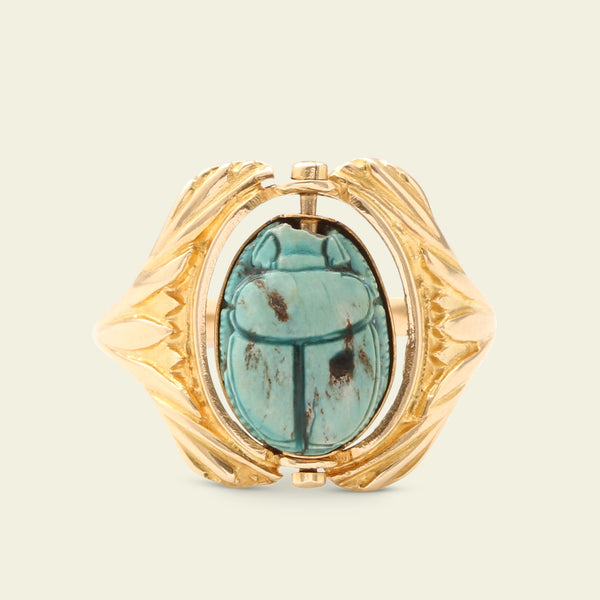 Scarab Spinner Ring with Lotus Shoulders