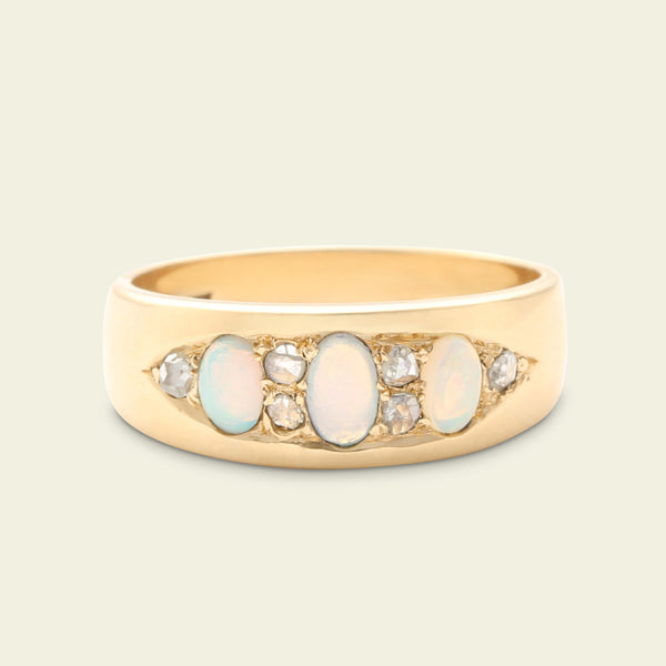 Victorian Opal and Rose Cut Diamond Band