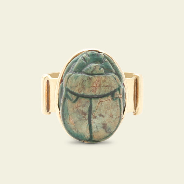Egyptian Revival Faience Scarab Ring