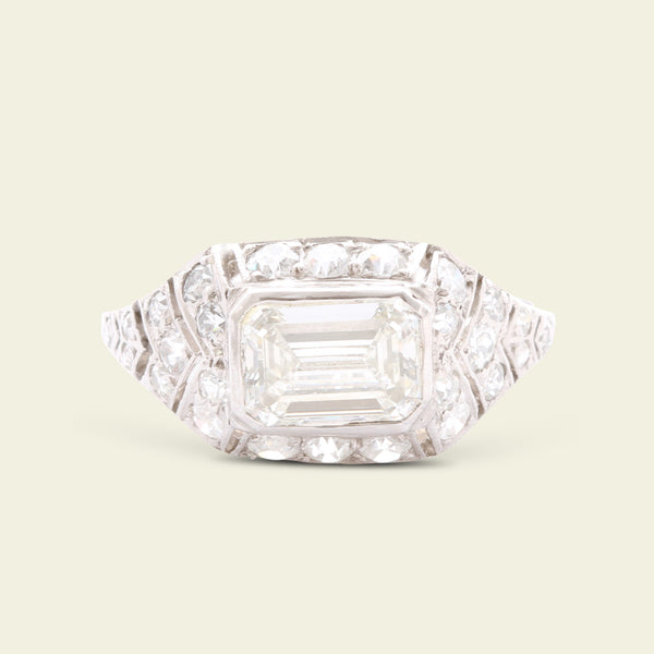 Art Deco 1.10ct Emerald Cut Diamond Chevron Engagement Ring