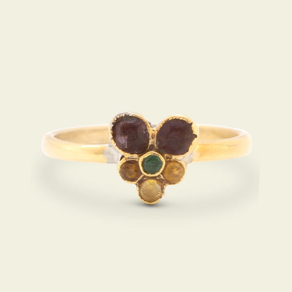 French Amethyst, Emerald and Citrine Pansy Ring