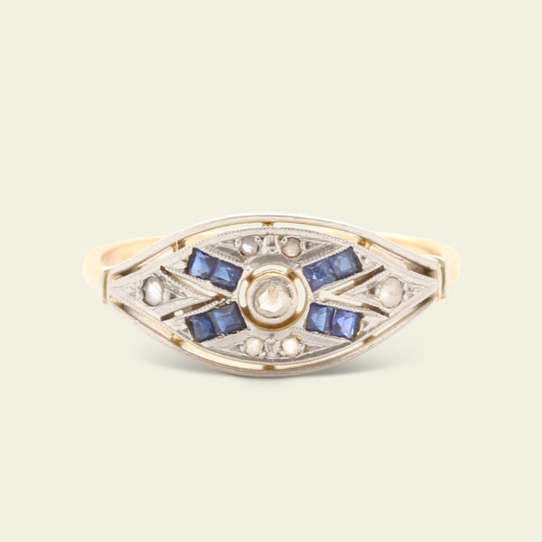 "Art Deco Rose Cut Diamond and Sapphire ""X"" Ring"