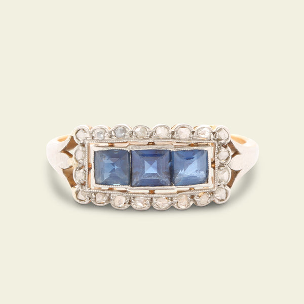 Art Deco Horizontal Sapphire and Diamond Cluster Ring