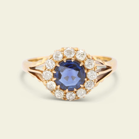 5ecaa9a12 Victorian .76ct Sapphire and Old Cut Diamond Cluster Ring