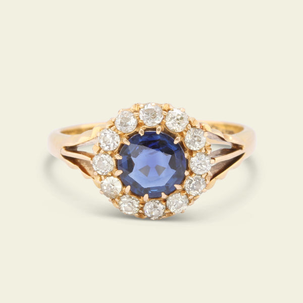 Victorian .76ct Sapphire and Old Cut Diamond Cluster Ring
