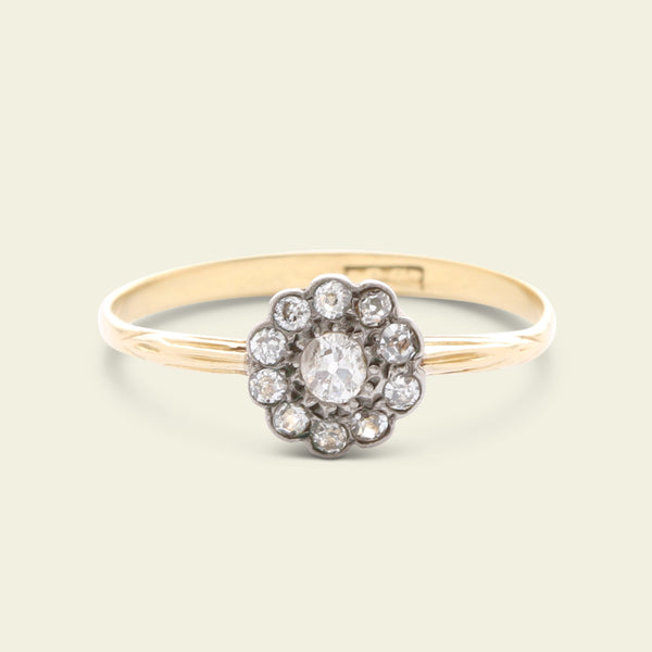 Old Mine Cut Diamond Floral Cluster Ring