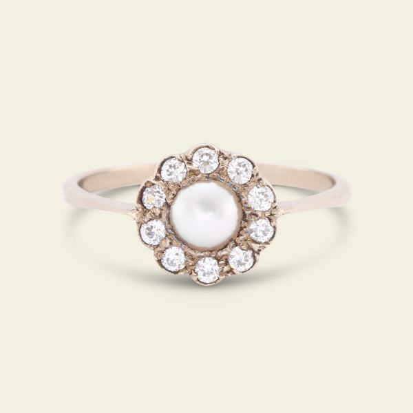 1920s Paste and Faux Pearl Cluster Ring