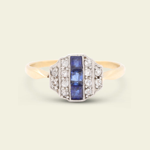 Art Deco Diamond and Sapphire Striped Ziggurat Ring