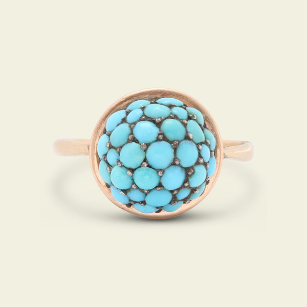 Victorian Domed Turquoise Pavé Ring