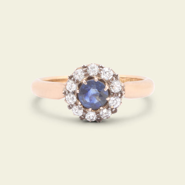 Late Victorian .55ct Sapphire and Old Cut Diamond Cluster Ring