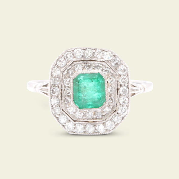 Deco Emerald and Diamond Octagonal Cluster Ring