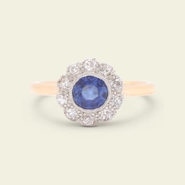 Edwardian .68ct Cobalt Blue Sapphire and Diamond Cluster Ring