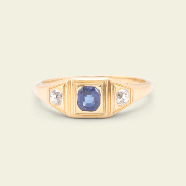 Late Victorian Geometric Sapphire and Diamond Three Stone Ring