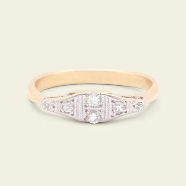 1920s Two Tone Diamond Dress Ring