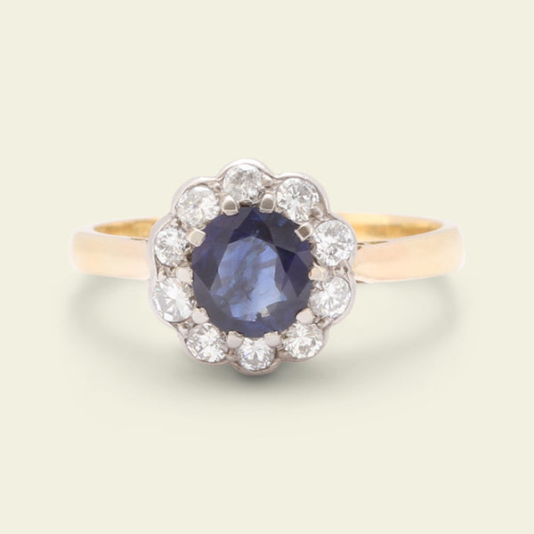 Edwardian .73ct Sapphire and Diamond Cluster Ring