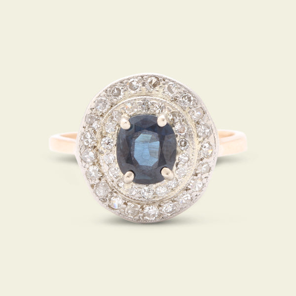 1920s .84ct Sapphire Ring with Diamond Double Halo