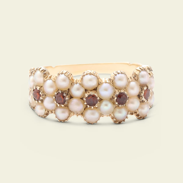 "Regency ""Truth"" Seed Pearl and Garnet Quintuple Cluster Ring"