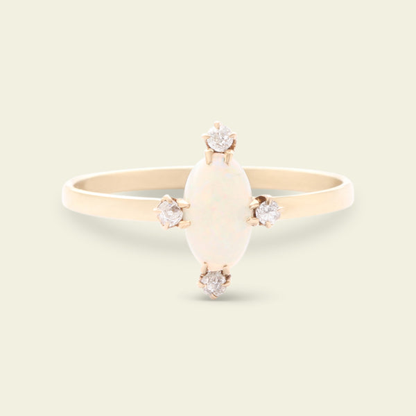 Victorian Opal and Old Mine Cut Diamond Cardinal Points Ring