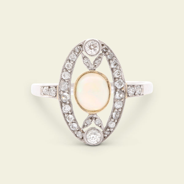 Deco Opal and Diamond Cocktail Ring