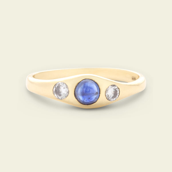 English 1930s Sapphire Cabochon and Diamond Three Stone Ring
