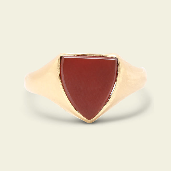 Edwardian Carnelian Shield Signet Ring
