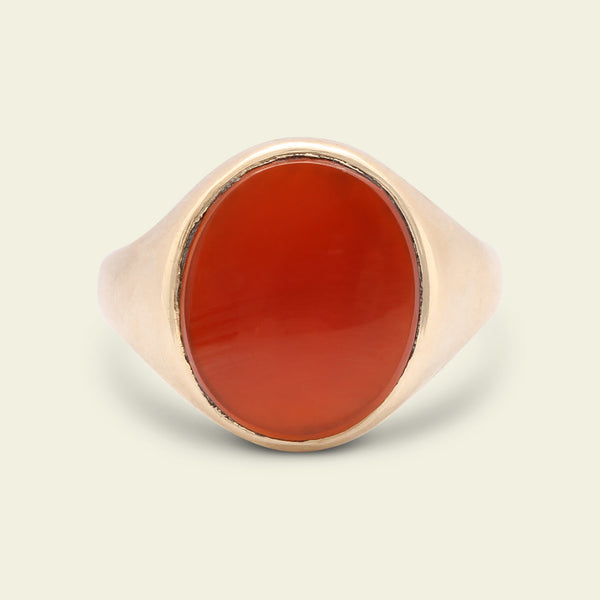 Midcentury Oval Carnelian Signet Ring