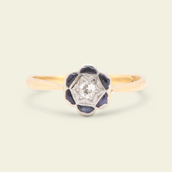 1930s Daisy Ring with Sapphire Half Moon Petals