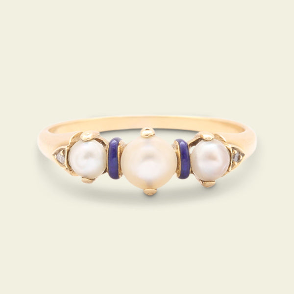 Edwardian Pearl, Enamel and Rose Cut Diamond Ring