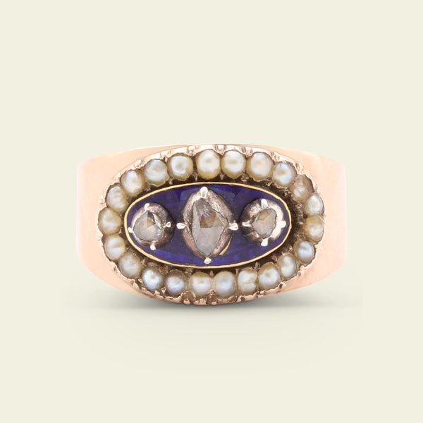 Petite Georgian Rose Cut Diamond, Enamel and Seed Pearl Ring
