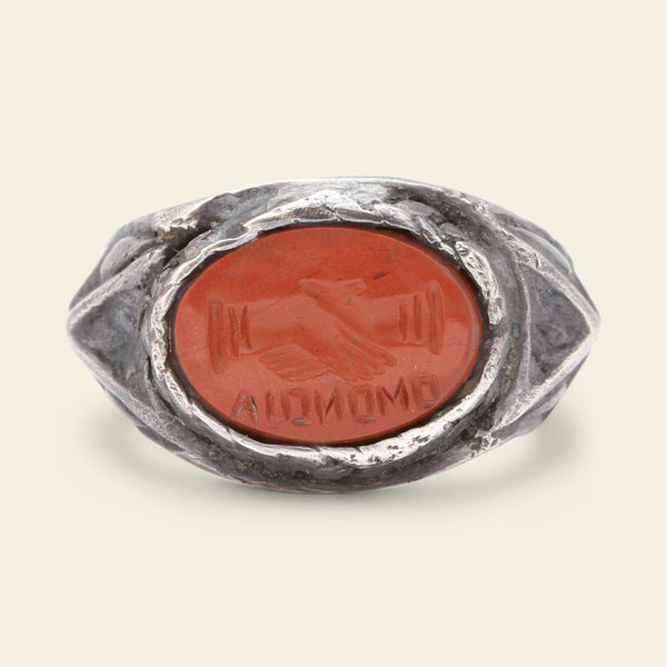 "Ancient Roman Silver Signet Ring with Jasper ""Omonoia"" Intaglio"