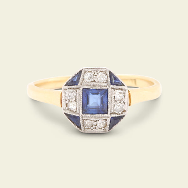 Octagonal Deco Sapphire and Diamond Engagement Ring