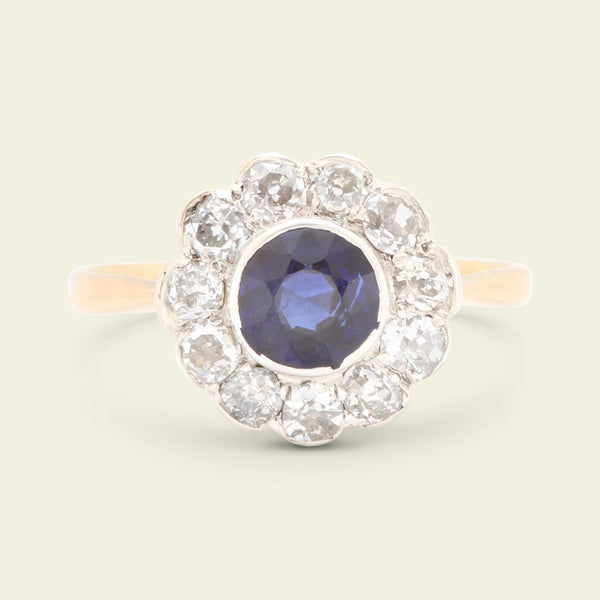 Edwardian .93ct Sapphire and Old Cut Diamond Cluster Ring